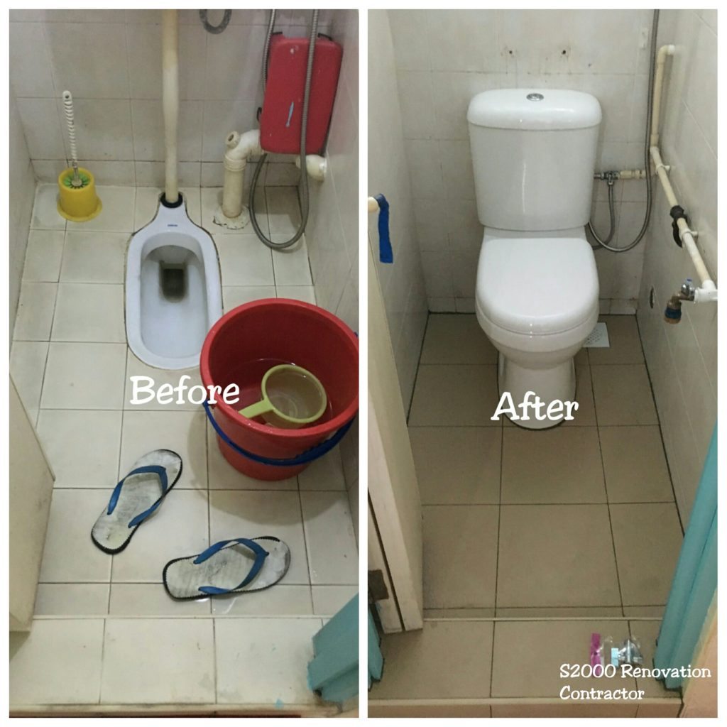 Squatting to sitting toilet bowl conversion toilet bathroom some of the surrounding tiles it is normally accompanied with smoothening and overlaying of the toilet floor before the new toilet bowl is installed dailygadgetfo Images